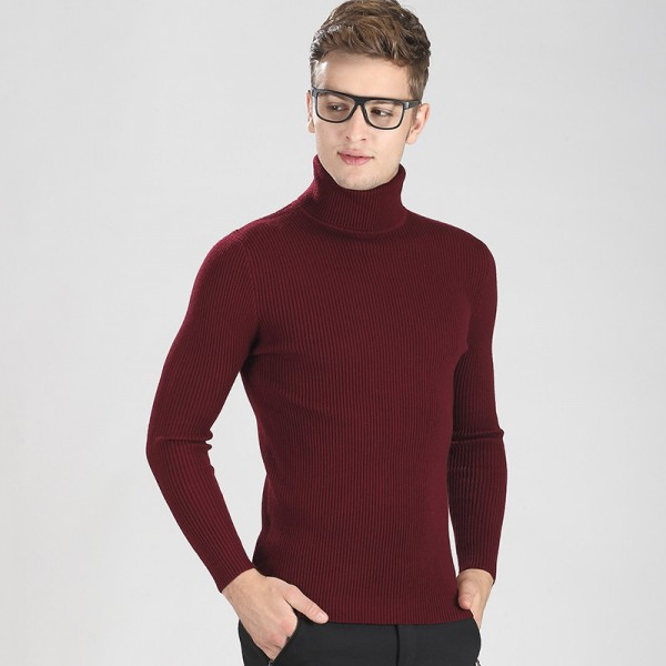 High Grade New Autumn Winter Youth Fashion Turtleneck Sweater Men Knitted Sweater High Elastic Sweaters And Pullovers Extra Image 6