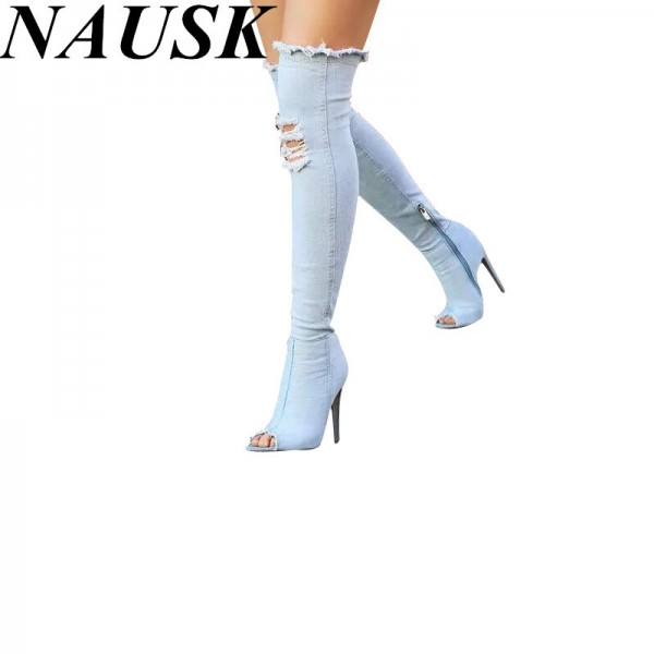 High Heel Denim Boots For Ladies New Knee High Peep Toe Elastic Sexy Thigh High Heels Female Winter Boots Extra Image 1