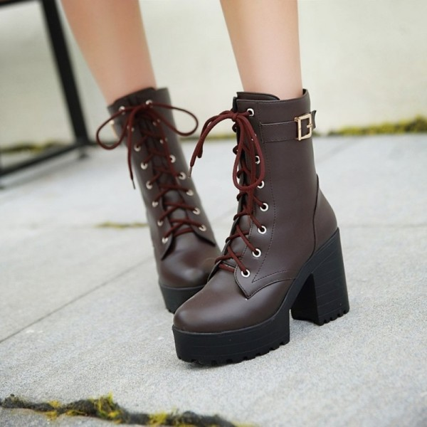 High Heel Leather Boots Martin Boots Buckle Lace Up Ladies Shoes Warm Winter Knee High Top Quality Fur Footwear