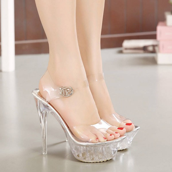 9ff5e8b04b9 High Heel Sexy Crystal Sandals Transparent Fish Head Shoes Latest ...