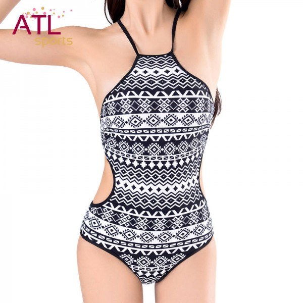High Neck Bikini Tops Sexy Swimming Suit One Piece Bohemia Female Swimwear Beach Party Sunbathing Suits Extra Image 0