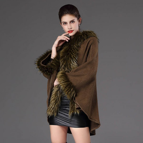 High Quality Autumn Winter Long Knitted Poncho Wool Cashmere Sweater For Women Extra Images 1