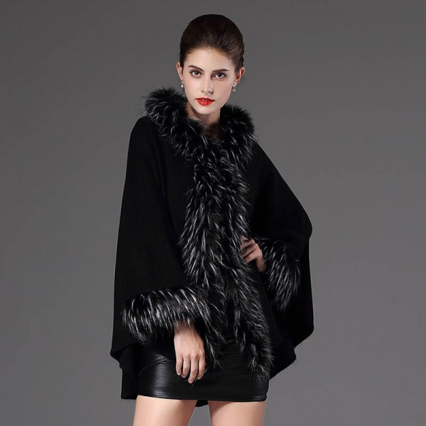 High Quality Autumn Winter Long Knitted Poncho Wool Cashmere Sweater For Women Extra Images 2