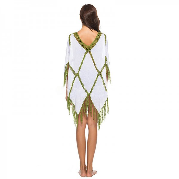 High Quality Comfortable Beach Cover Ups Swimsuit Outfit Tassel Deep V Neck Beach Pareo 2019 Extra Image 4