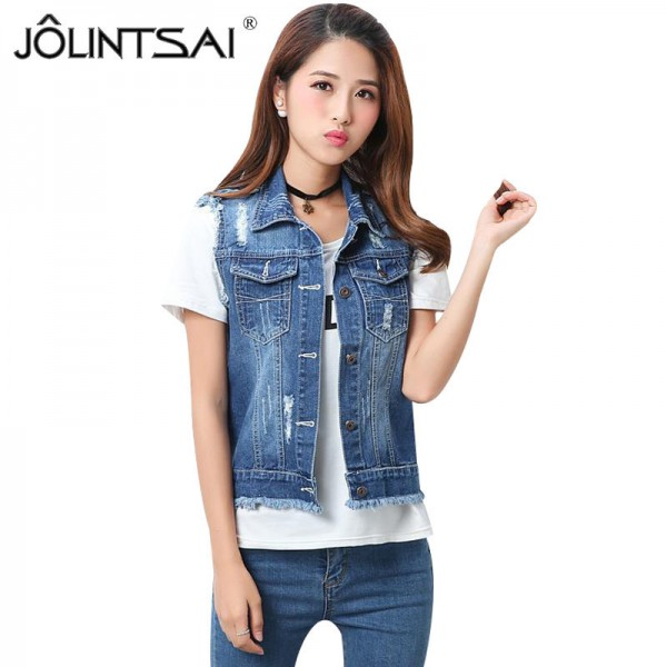 High Quality Fashion Hole Womens Denim Vests Autumn Sleeveless Ripped Buttons Tassel Casual Jeans Vest Tops Plus Size Extra Image 1