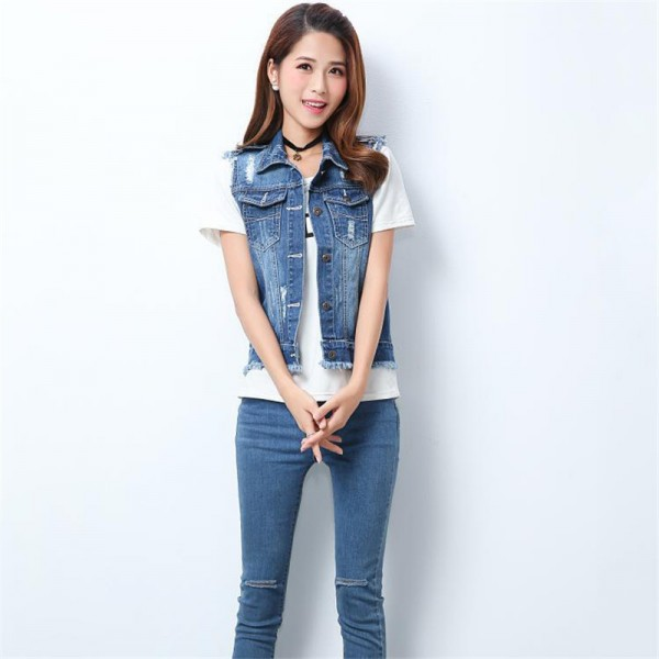 High Quality Fashion Hole Womens Denim Vests Autumn Sleeveless Ripped Buttons Tassel Casual Jeans Vest Tops Plus Size Extra Image 2