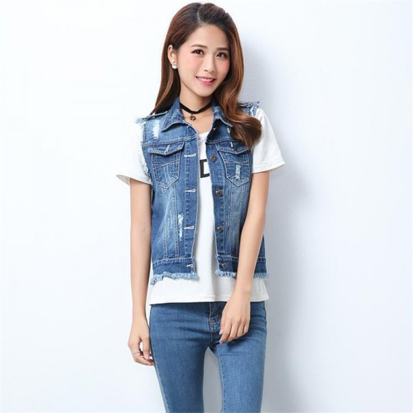 High Quality Fashion Hole Womens Denim Vests Autumn Sleeveless Ripped Buttons Tassel Casual Jeans Vest Tops Plus Size
