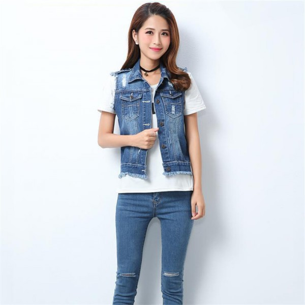 High Quality Fashion Hole Womens Denim Vests Autumn Sleeveless Ripped Buttons Tassel Casual Jeans Vest Tops Plus Size Extra Image 5
