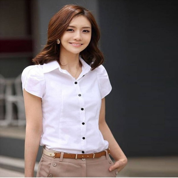 b2d165bf99fd20 High Quality Fashion Short Sleeve Chiffon Shirt Casual Loose Office ...