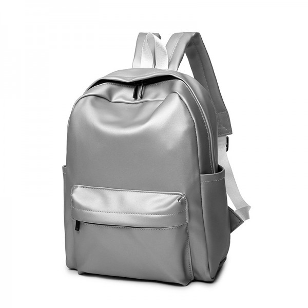High Quality Pu Leather Student Backpacks Soft Leather School Bags Travel Rucksack Korean Style Pure Color Female Bags Extra Image 2
