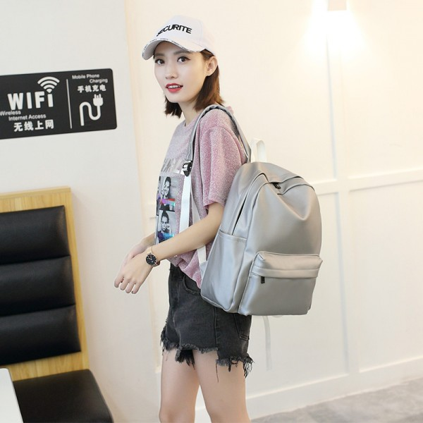 High Quality Pu Leather Student Backpacks Soft Leather School Bags Travel Rucksack Korean Style Pure Color Female Bags Extra Image 4
