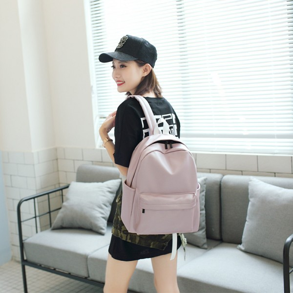 High Quality Pu Leather Student Backpacks Soft Leather School Bags Travel Rucksack Korean Style Pure Color Female Bags Extra Image 5
