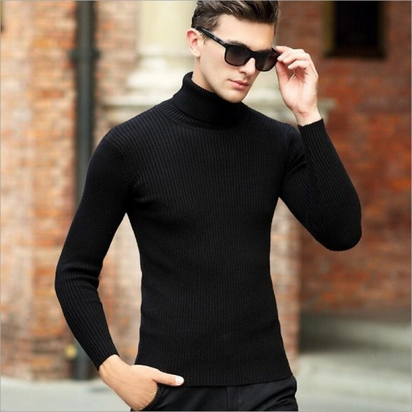 High Quality Winter Sweater Men Knitwear Pullover Slim Turtleneck Clothing Sweaters Solid Thick Male Sweater Pull Extra Image 2