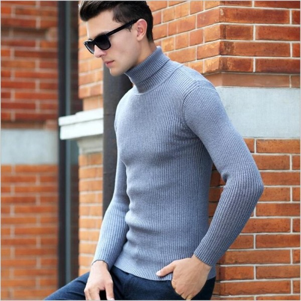 High Quality Winter Sweater Men Knitwear Pullover Slim Turtleneck Clothing Sweaters Solid Thick Male Sweater Pull Extra Image 3