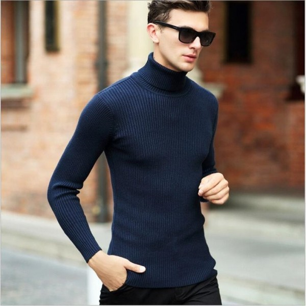 High Quality Winter Sweater Men Knitwear Pullover Slim Turtleneck Clothing Sweaters Solid Thick Male Sweater Pull Extra Image 5