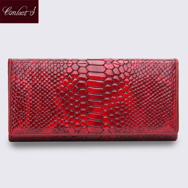 High Quality Women Genuine Leather Wallets Female Fashion Serpentine Style Long Designer Wallets Thumbnail