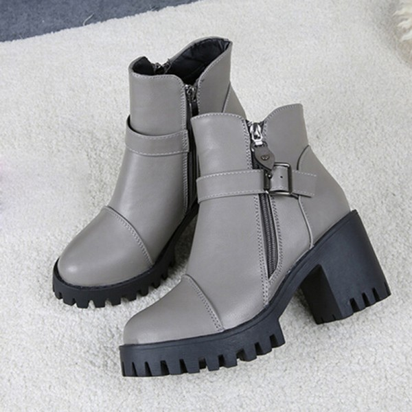 High Quality Women Winter Boots Platform High Heels Ankle Boots Women Fashion Ladies Pumps Zipper Shoes Extra Image 4