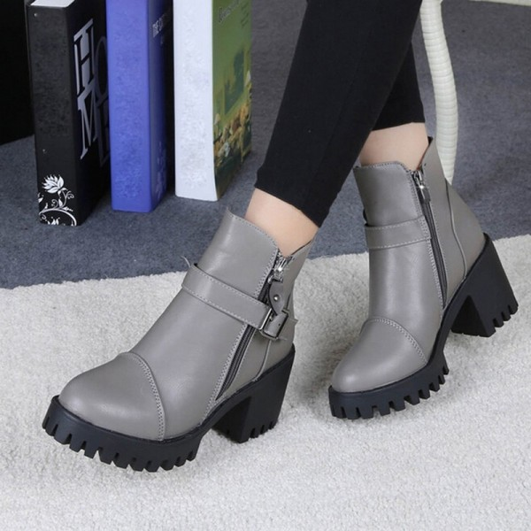 High Quality Women Winter Boots Platform High Heels Ankle Boots Women Fashion Ladies Pumps Zipper Shoes Extra Image 5