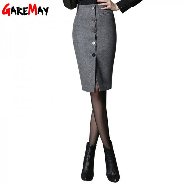 High Waist Bandage Skirts Vintage Elegant Woolen Office Skirts For Women New Thumbnail
