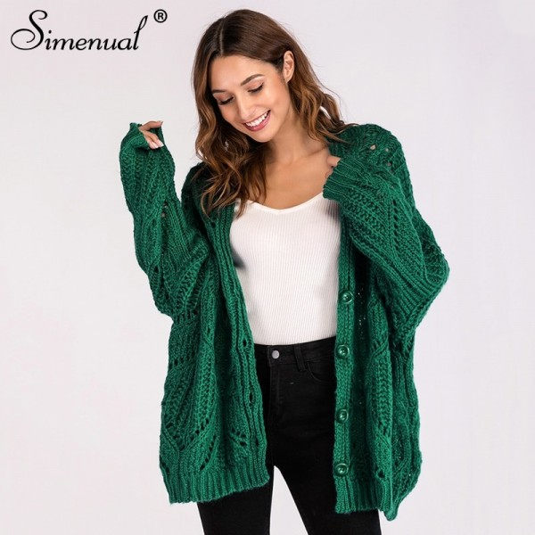 Hollow out Female cardigan single breasted buttons winter woman coat oversized cardigans sweaters for women clothing Extra Image 1