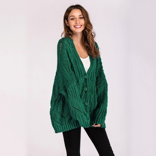 Hollow out Female cardigan single breasted buttons winter woman coat oversized cardigans sweaters for women clothing
