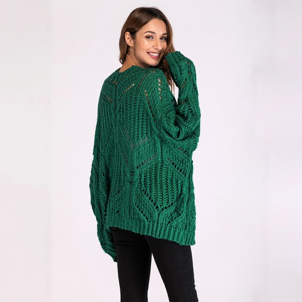 Hollow out Female cardigan single breasted buttons winter woman coat oversized cardigans sweaters for women clothing Extra Image 2