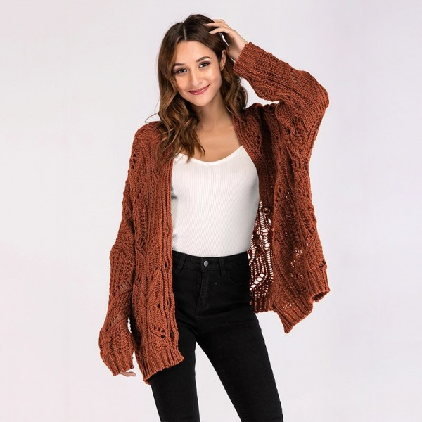 Hollow out Female cardigan single breasted buttons winter woman coat oversized cardigans sweaters for women clothing Extra Image 3