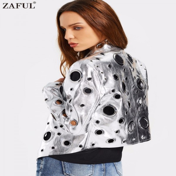 Hollow Out Ring Embellished Shiny Jacket Women Open Front Fashion Autumn Coat Streetwear High Quality Casacos Femininos Extra Image 3