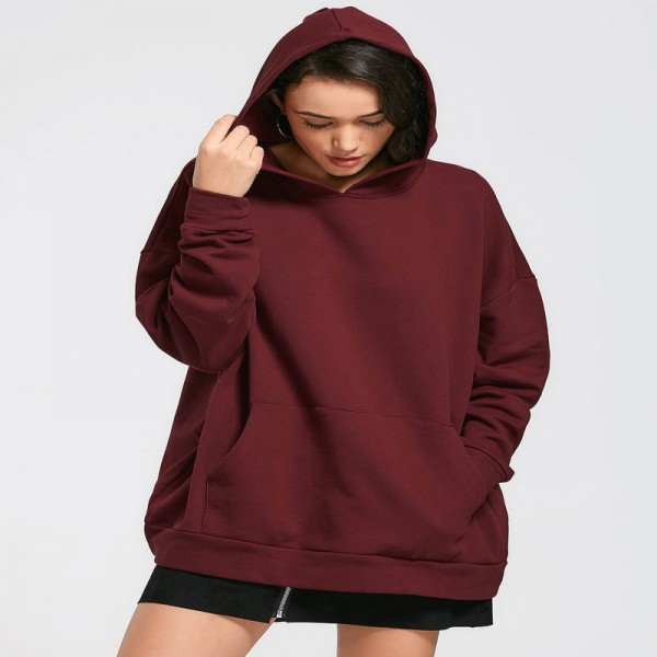 Hoodie Sweatshirt Women 2018 Autumn Winter Harajuku Pocket Oversized Long Hoodie Loose Pullovers Outerwear Jacket Extra Image 2