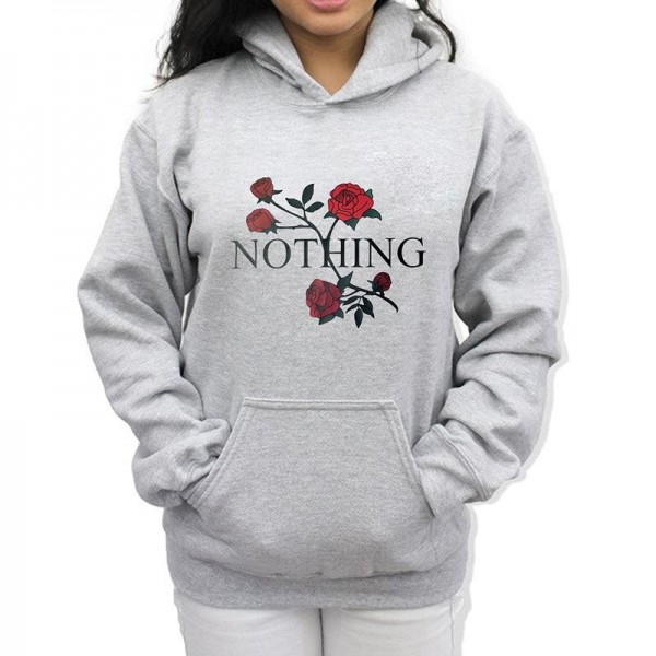 Hoodies For Women Sweatshirt Rose Nothing Letter Print Long Sleeve Hoodies Hooded Female Tops Sweatshirts Extra Image 2