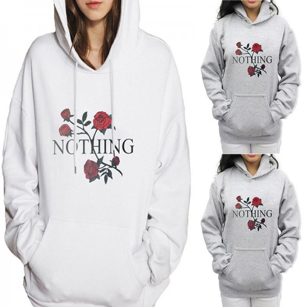 Hoodies For Women Sweatshirt Rose Nothing Letter Print Long Sleeve Hoodies Hooded Female Tops Sweatshirts Extra Image 3