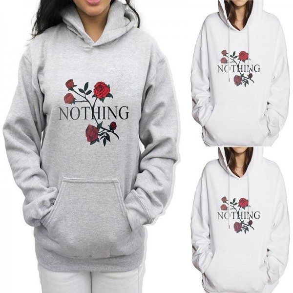 Hoodies For Women Sweatshirt Rose Nothing Letter Print Long Sleeve Hoodies Hooded Female Tops Sweatshirts Extra Image 4