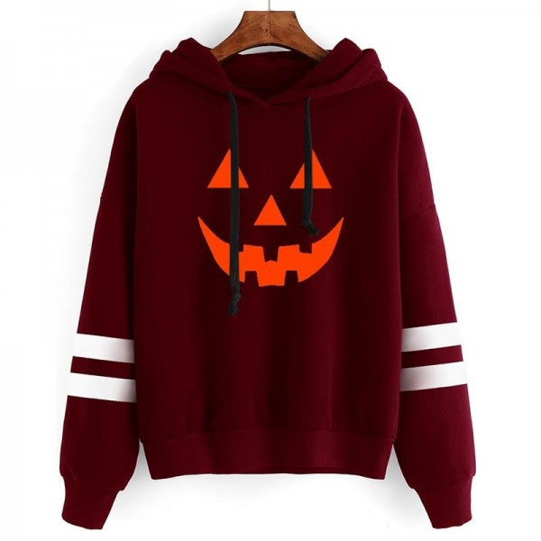 Hoodies Women Halloween Pumpkin Printed Long Sleeve Striped Sweatshirt Women Tops Girl Hooded Hoodie
