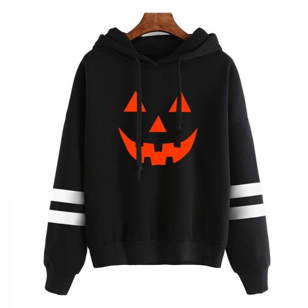 Hoodies Women Halloween Pumpkin Printed Long Sleeve Striped Sweatshirt Women Tops Girl Hooded Hoodie Extra Image 2