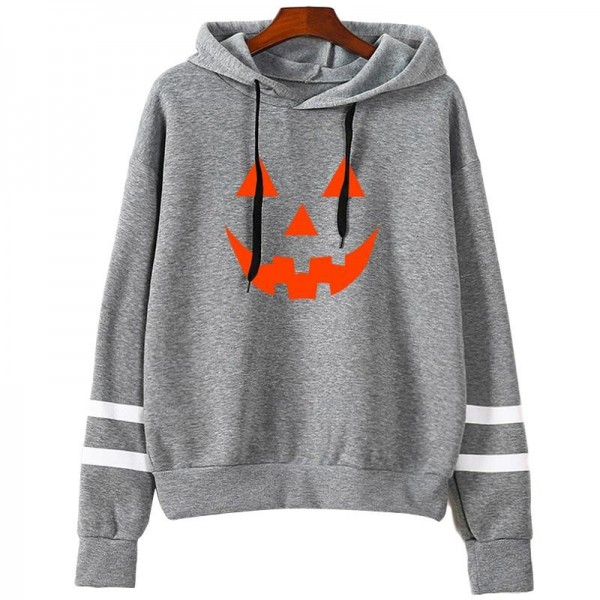 Hoodies Women Halloween Pumpkin Printed Long Sleeve Striped Sweatshirt Women Tops Girl Hooded Hoodie Extra Image 3