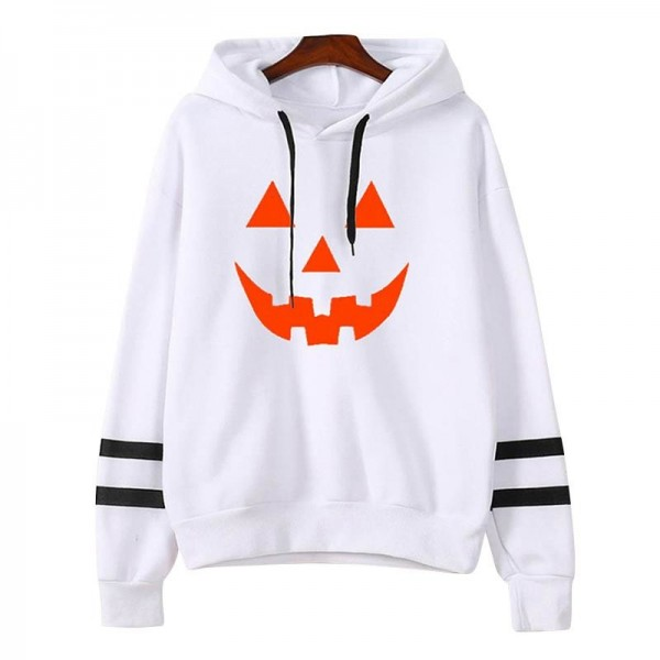 Hoodies Women Halloween Pumpkin Printed Long Sleeve Striped Sweatshirt Women Tops Girl Hooded Hoodie Extra Image 4
