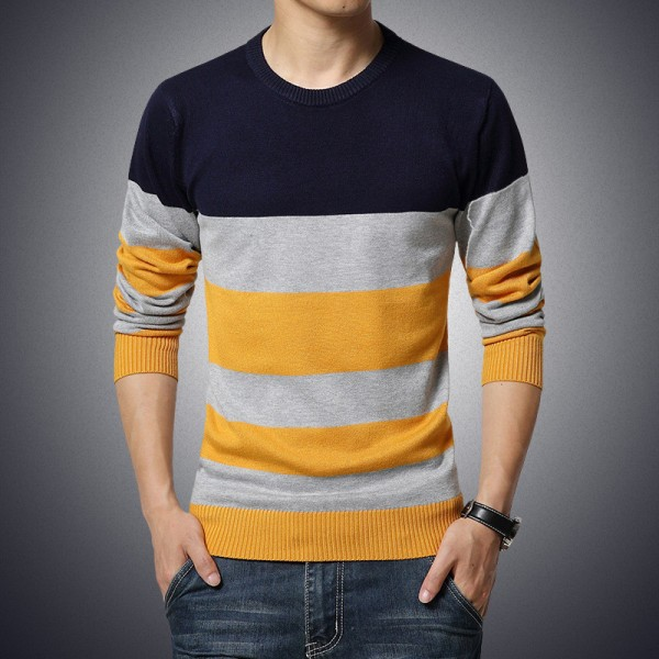 Horizontal Striped T Shirts For Men High Quality O Neck Casual Tees 2018 Long Sleeved Mens Sweatshirts Pullovers Extra Image 2