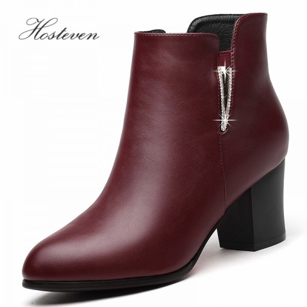 Hosteven Boots Winter Autumn Warm PU Leather Snow Boots Short Plush Boots Women Ladies Girls Students Women Shoes Extra Image 1