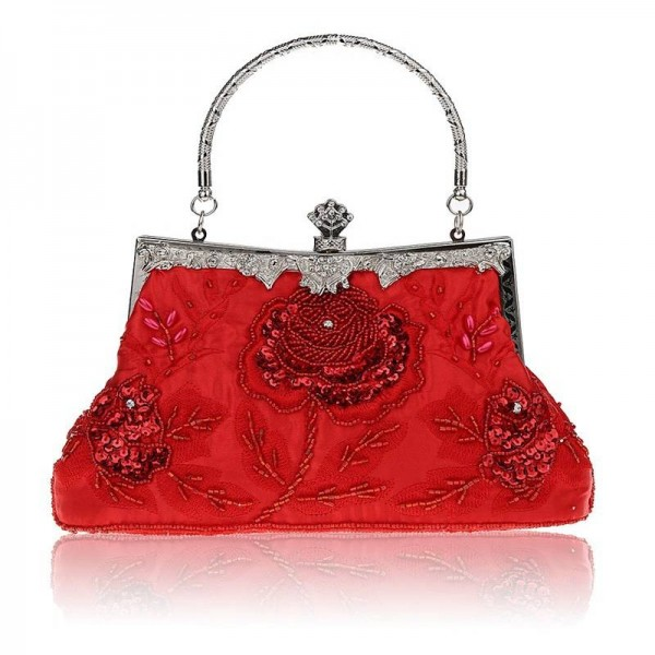 Hot Beaded Handbags Clutches Retro Embroidery Evening Clutches Messenger Bags With Metal Chain Clutches Thumbnail