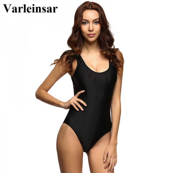 Hot Black Swimsuit Women High Cut One Piece Swimwear Backless Monokini Body Suit Bathing Suit For Women Thumbnail