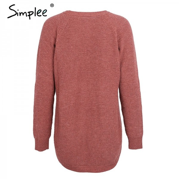 Hot Fashion side split knitting pullover Casual autumn winter sweater women Elegant streetwear warm jumper pull femme Extra Image 6