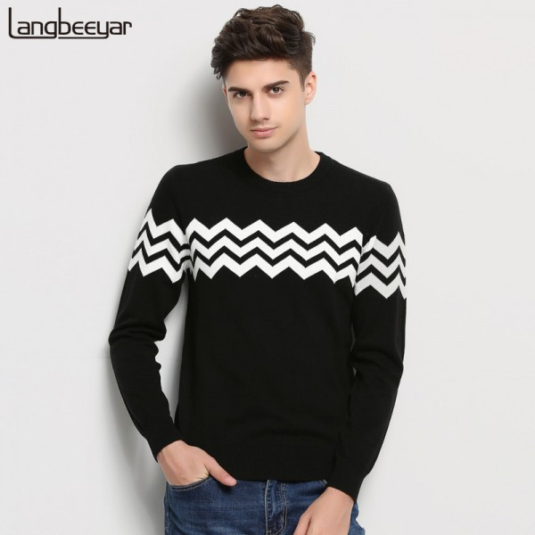 Hot New Autumn Winter Fashion Brand Clothing Men Knitted Sweater O Neck Slim Fit Pullover Men Jacquard Sweaters For Men Extra Image 1