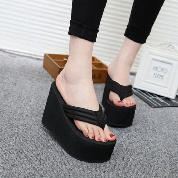 75e732d17ce ... Hot New Women Summer Shoes High Heels Beach Sandals Solid Wedge  Platform Flip Flops For Woman ...