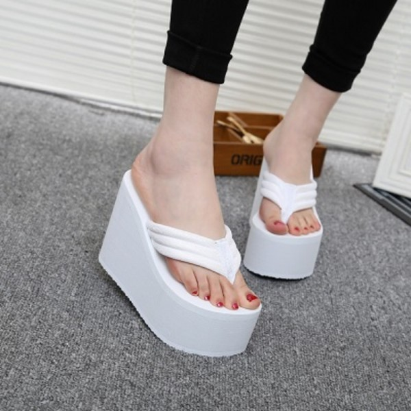 68449ad02e1 Hot New Women Summer Shoes High Heels Beach Sandals Solid Wedge Platform  Flip Flops For Woman Shoes Slippers