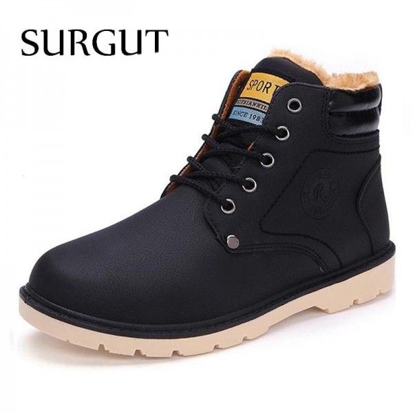 Hot Newest Keep Warm Men Winter Boots High Quality Pu Leather Casual Boots Working Fashion Boots Essential Shoes