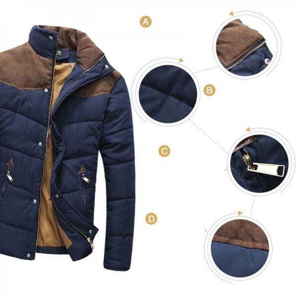 Hot Sale Men Winter Splicing Cotton Padded Coat Jacket Winter Size M XXL Parkas High Quality Male Coats Outwear Extra Image 5