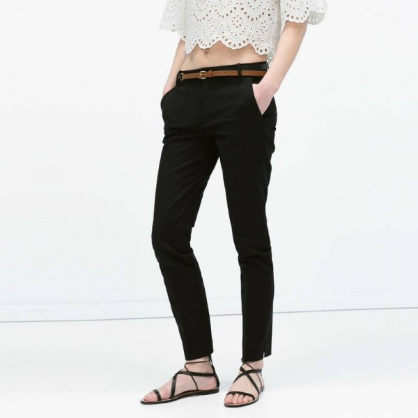 Hot Sale Women Pants Cotton Slim Pencil With Belt Spring Summer Casual For Women Thumbnail
