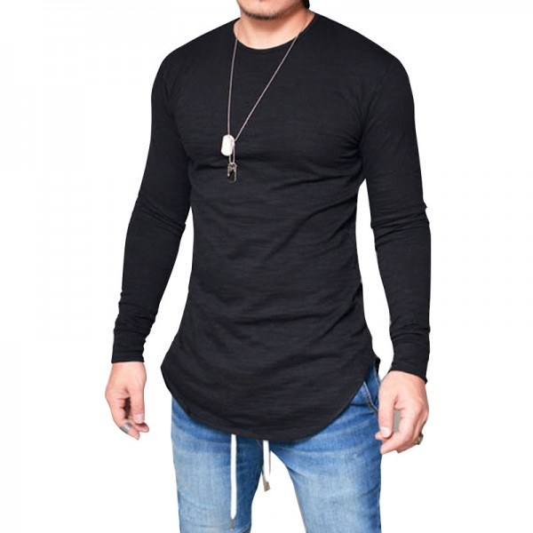 Hot Selling Autumn New Mens Long Sleeved T Shirt O Neck Slim Solid Color T shirt Mens Casual T Shirt Tops Parcel Post Extra Image 1