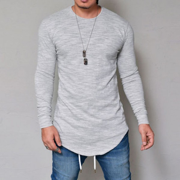 Hot Selling Autumn New Mens Long Sleeved T Shirt O Neck Slim Solid Color T shirt Mens Casual T Shirt Tops Parcel Post Extra Image 3