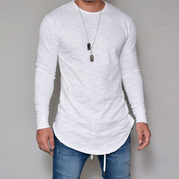 Hot Selling Autumn New Mens Long Sleeved T Shirt O Neck Slim Solid Color T shirt Mens Casual T Shirt Tops Parcel Post Extra Image 4